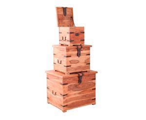 Set de 3 baúles de madera de acacia