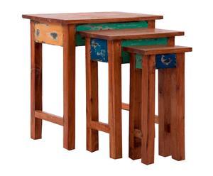Set de 3 mesas nido en madera de mahogani – multicolor