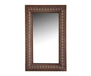 Espejo de pared enmarcado en metal, marrón - 48x76 cm
