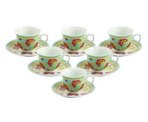 Set de 6 tazas en gres con plato Oriental