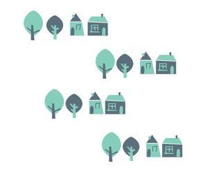 Vinilo decorativo Houses – verde menta y gris