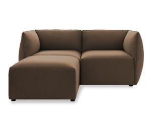 Sofá 2 plazas con chaise longue - beige oscuro