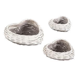 Set de 3 cubre macetas en mimbre con forma de corazón