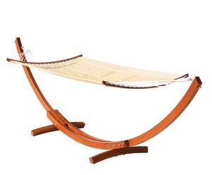 Hamaca con soporte de madera de eucalipto - blanco y natural