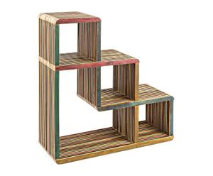 Estantería de madera de teca reciclada Leo - multicolor