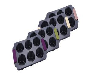 Set de 4 moldes para magdalenas en acero y silicona - surtido