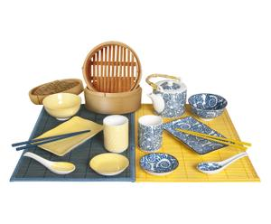 Set de 2 servicios de mesa Oriental - 15 piezas