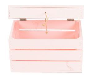 Baúl de madera de pino, rosa - 30x50 cm