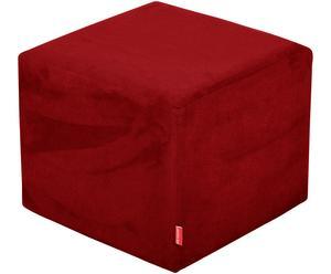 Puf de madera de haya, microfibra y algodón, rojo - 43x38 cm