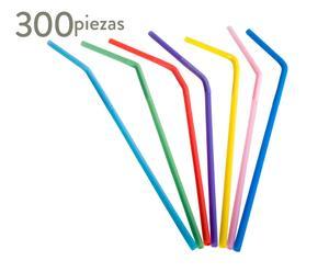 Set de 300 pajitas de plástico - colores surtidos
