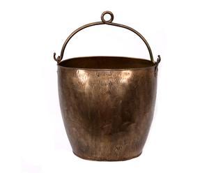 Caldero con asa en chapa grabada - bronce