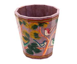 Maceta de madera de mango pintado a mano Corinto - Ø24 cm