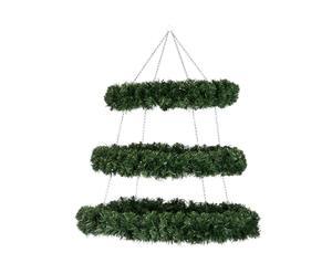 Corona de navidad colgante con 3 niveles, verde - altura 90 cm
