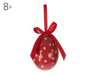 Set de 12 huevos decorativos en plástico Pascua - rojo