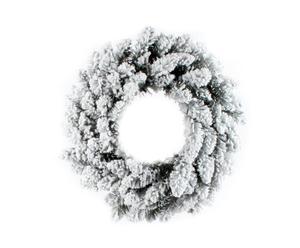 Corona de navidad Niban, verde y blanco - Ø45 cm