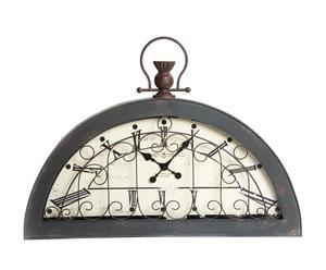 Reloj de pared en hierro y cristal - gris y cobre envejecido