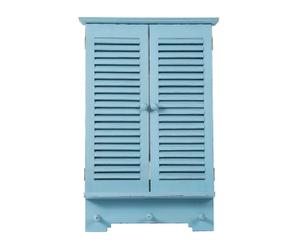 Espejo de madera en forma de ventana, azul - 35,5x60 cm