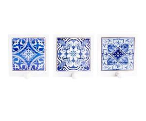 Perchero de pared en madera y cerámica Azulejos II