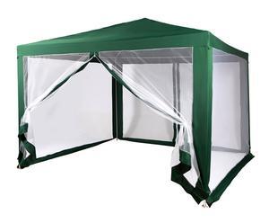 Pérgola con mosquitera en acero y poliéster, verde - altura 240cm