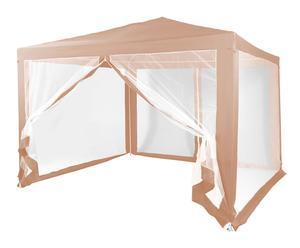 Pérgola con mosquitera en acero y poliéster, beige - altura 240cm