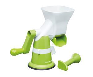 Pasapurés manual de plástico - verde y blanco