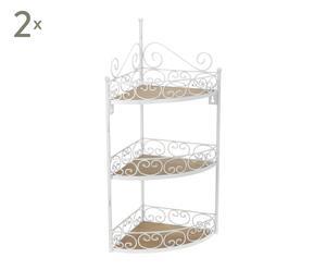 Set de 2 estanterías rinconera en metal con 3 estantes