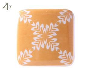 Set de 4 tiradores de cerámica, amarillo y blanco - 3,5x3,5 cm