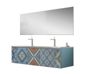 Mueble de lavabo doble en cerámica con espejo Masset - azul