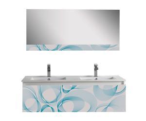 Mueble de lavabo doble con espejo Bubble - blanco y azul