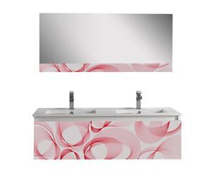 Mueble de lavabo doble con espejo Bubble - blanco y rojo