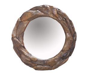 Espejo de pared redondo en madera de teca tallado a mano - Ø100 cm