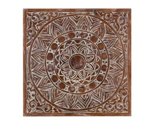 Cuadro tallado en madera de teca Floral - 80x80 cm
