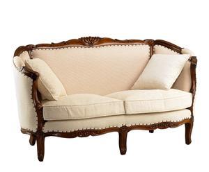Sofá de 2 plazas en madera de caoba y lino Louis - natural y beige