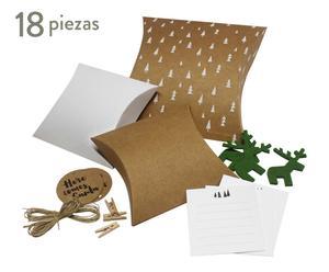 Set de cajas para regalo Here comes Santa, verde y marrón - 18 piezas
