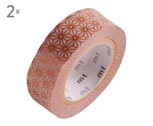 Set de 2 cintas de washi tape Mosaico, dorado - 10 m