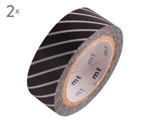 Set de 2 cintas de washi tape Rayas, negro y blanco - 10 m