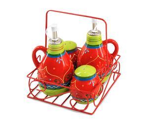 Set de aliño de cerámica con soporte - multicolor