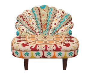 Sillón de madera de pino y algodón Pavo Real - multicolor