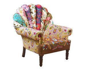 Sillón de madera y algodón Pavo Real - multicolor