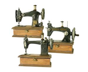 Set de 3 máquinas de coser decorativas de hojalata y madera