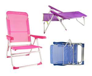 Set de 3 sillas plegables multiposición de aluminio y textilene