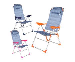 Set de 3 sillas multiposición de aluminio y tejido Oxford