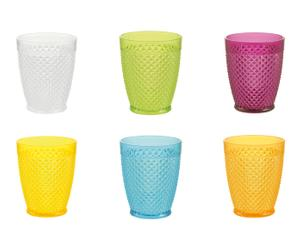 Set de 6 vasos de plástico Diamond - multicolor
