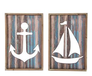 Set de 2 decoraciónes de pared de DM y metal - azul y marrón
