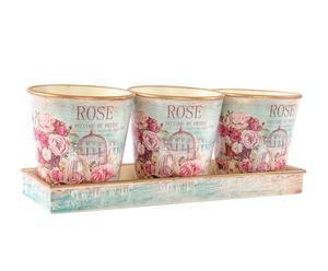 Set de 3 macetas con bandeja en metal Rosas