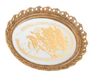 Bandeja con espejo en poliresina - dorado