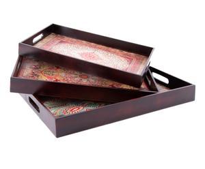 Set de 3 bandejas de madera DM - marrón y multicolor