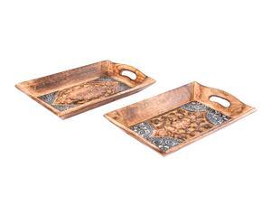 Set de 2 bandejas de madera y metal, multicolor - 26x16 cm