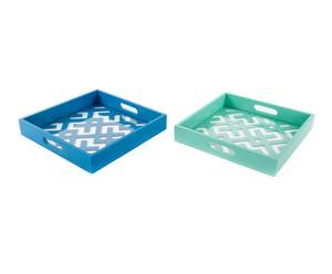 Set de 2 bandejas de madera DM y cristal - turquesa y azul