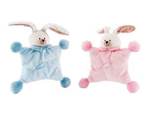 Set de 2 sonajeros Conejo - azul y rosa